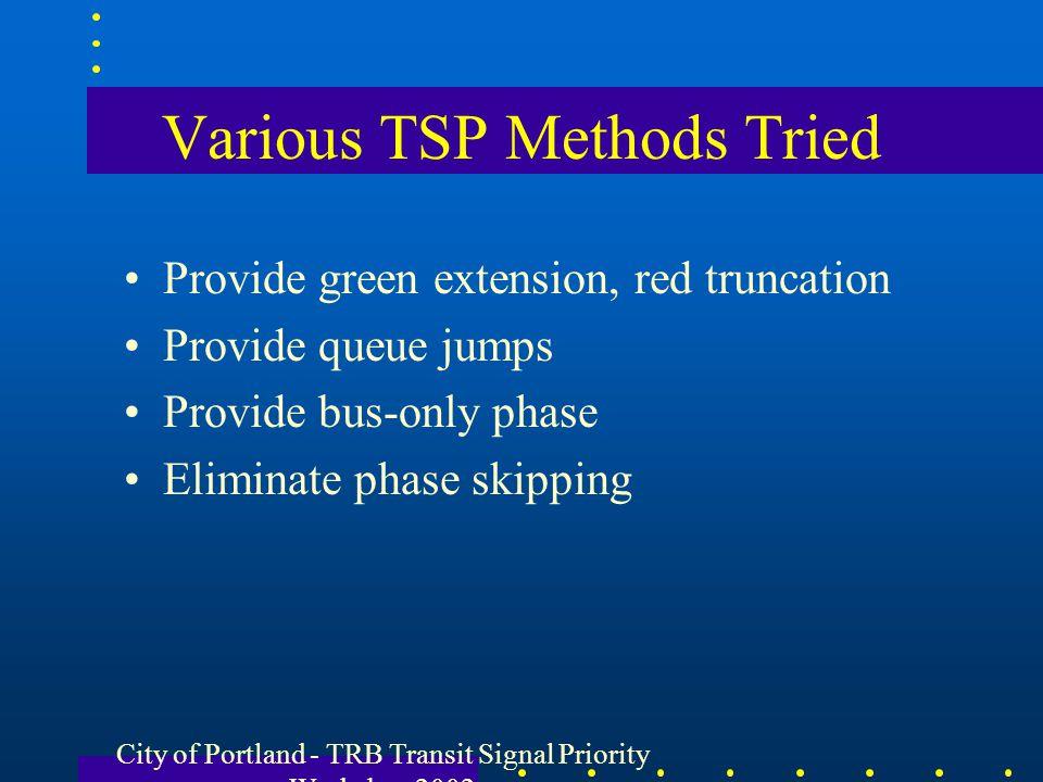 Various TSP Methods Tried