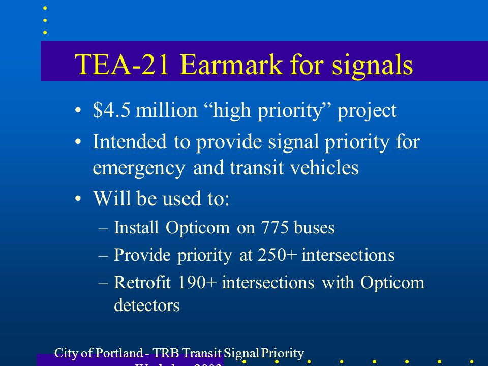 TEA-21 Earmark for signals