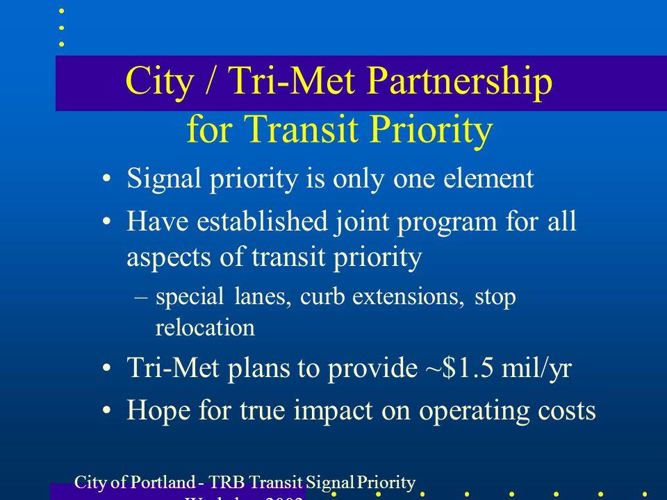 City / Tri-Met Partnership for Transit Priority