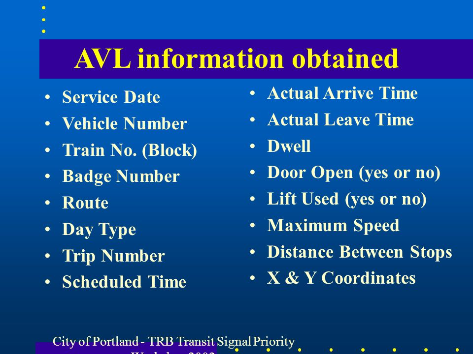 AVL information obtained