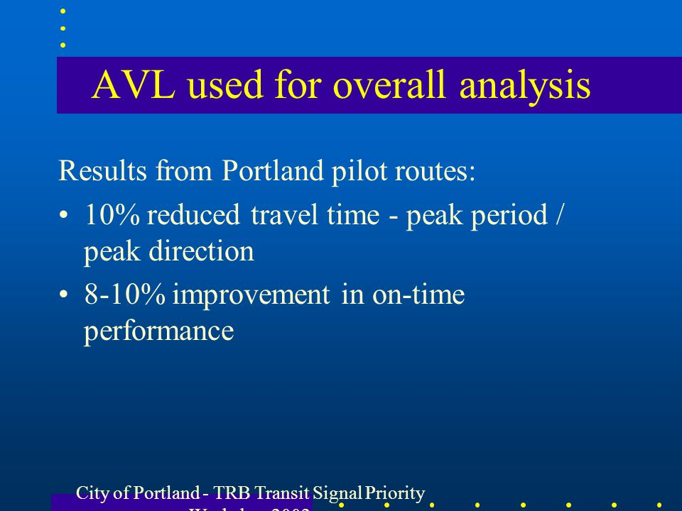 AVL used for overall analysis