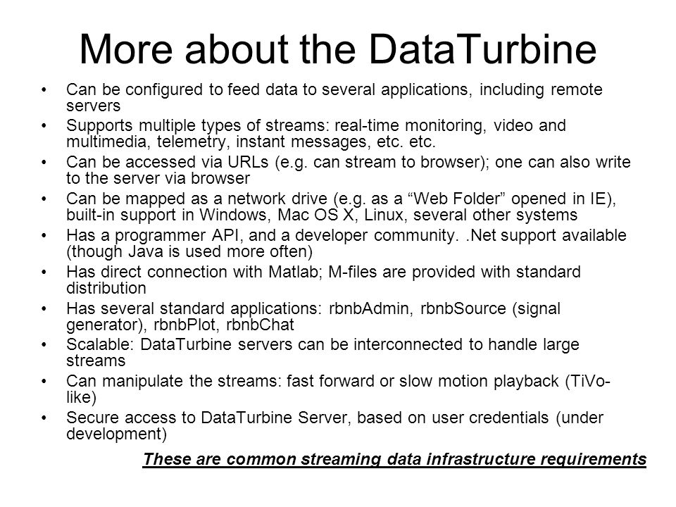 More about the DataTurbine