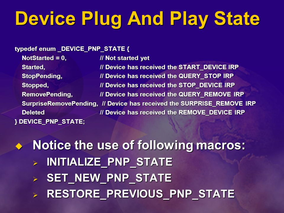 Device Plug And Play State