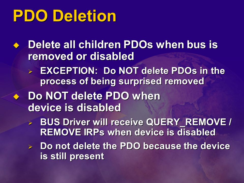 PDO Deletion Delete all children PDOs when bus is removed or disabled