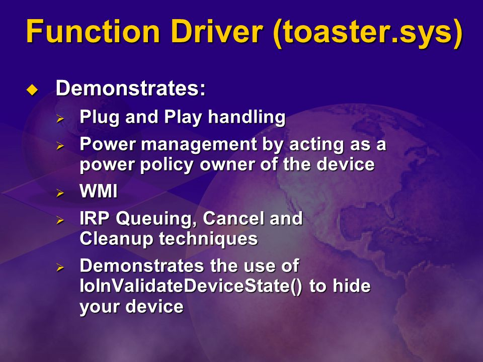 Function Driver (toaster.sys)