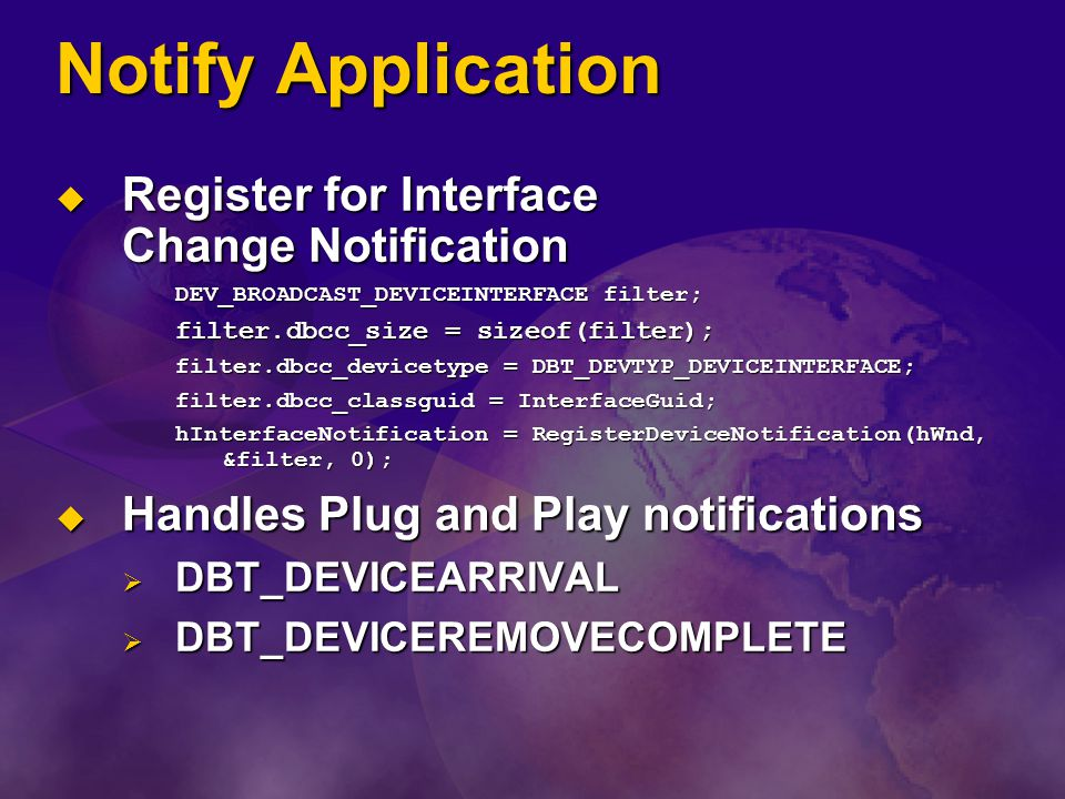 Notify Application Register for Interface Change Notification