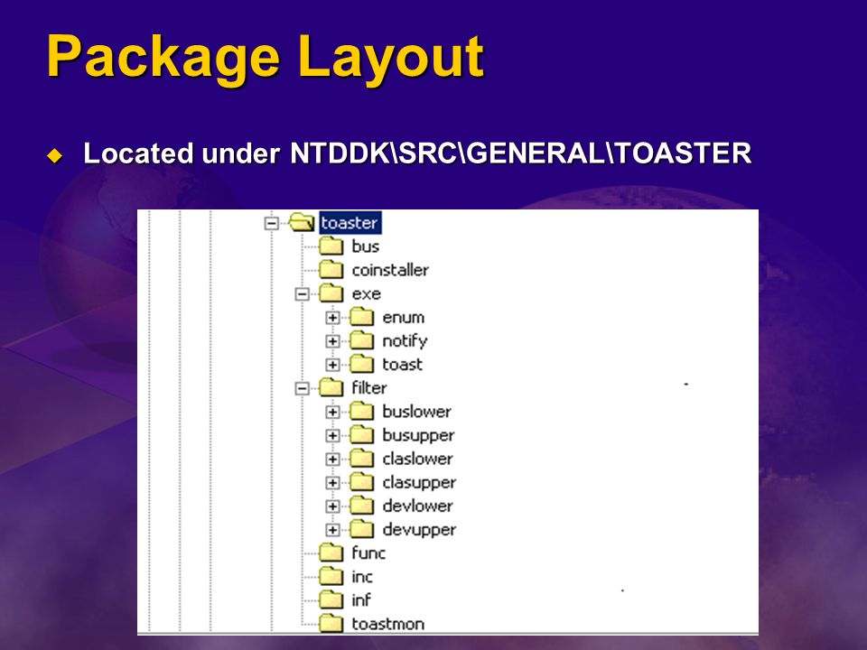 Package Layout Located under NTDDK\SRC\GENERAL\TOASTER
