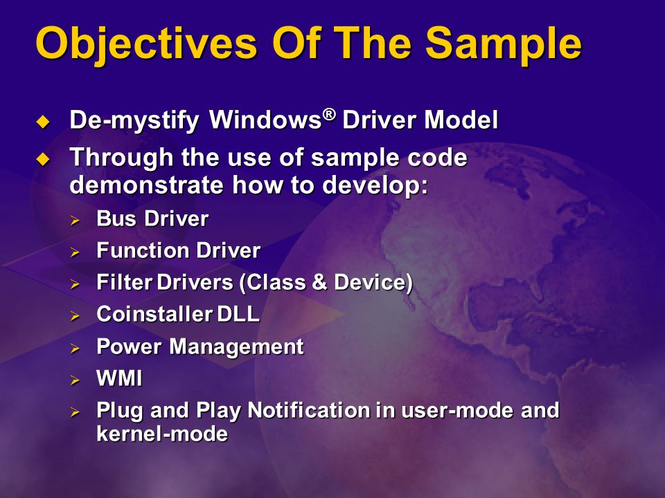 Objectives Of The Sample