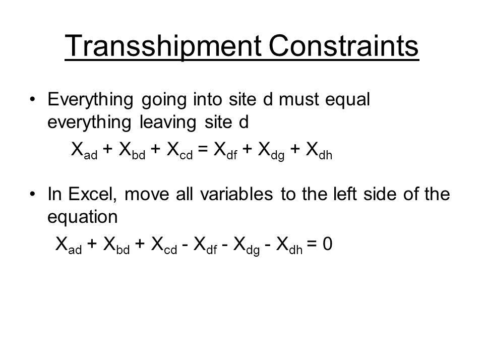 Transshipment Constraints