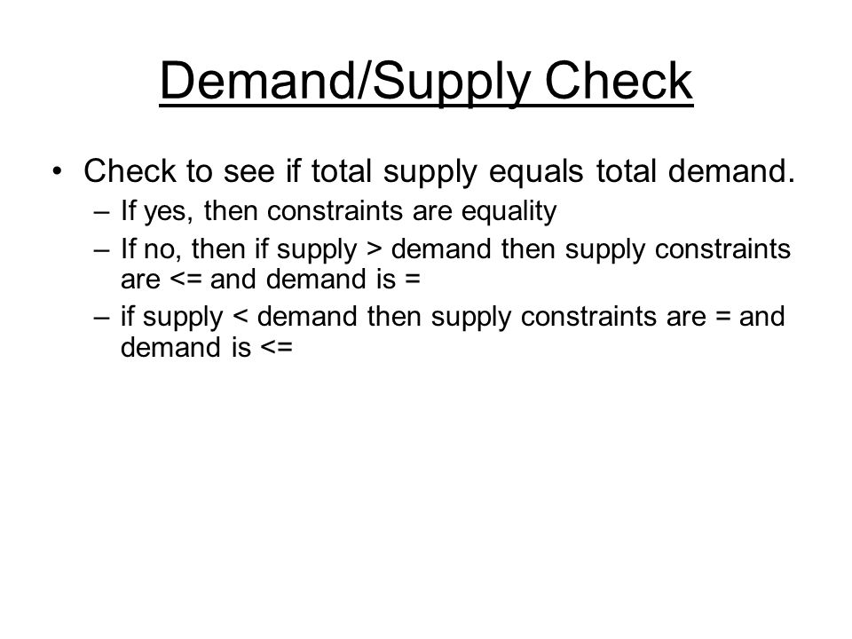Demand/Supply Check Check to see if total supply equals total demand.