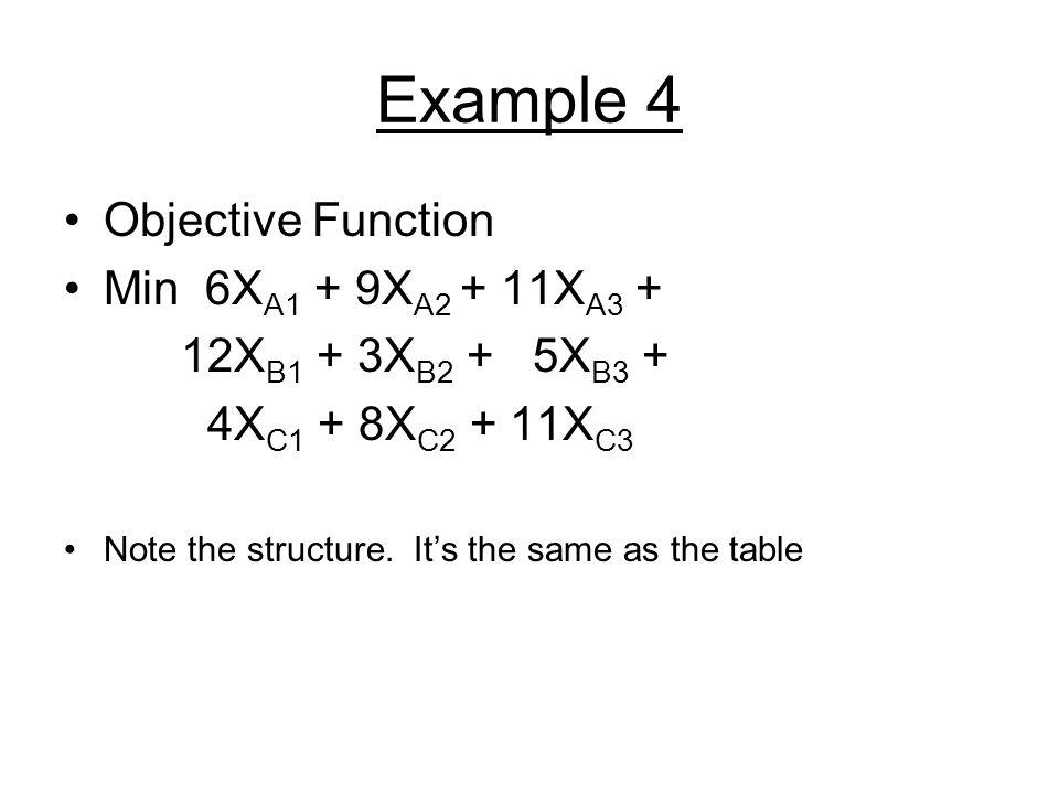 Example 4 Objective Function Min 6XA1 + 9XA2 + 11XA3 +