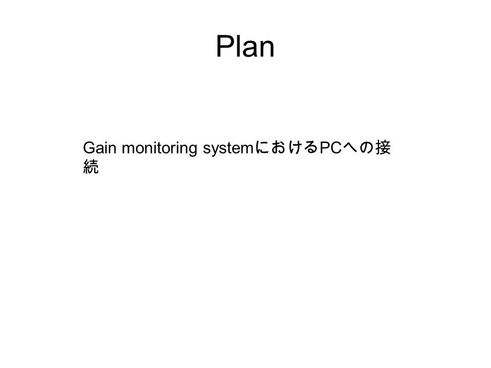 Plan Gain monitoring systemにおけるPCへの接続