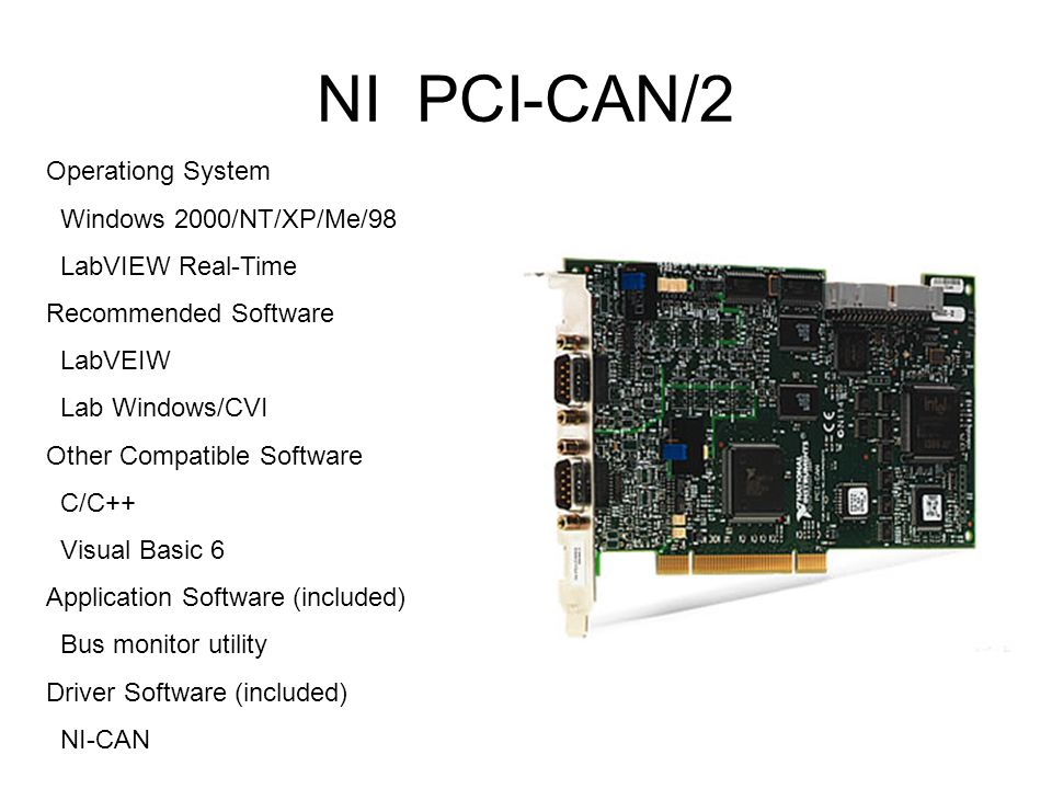 NI PCI-CAN/2 Operationg System Windows 2000/NT/XP/Me/98