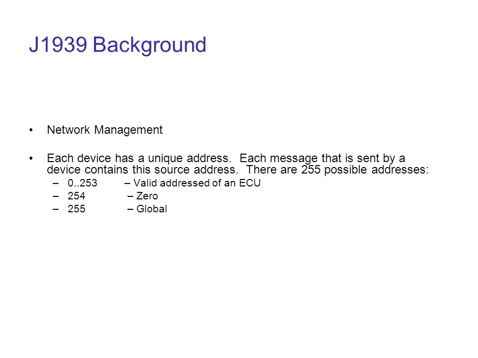 J1939 Background Network Management