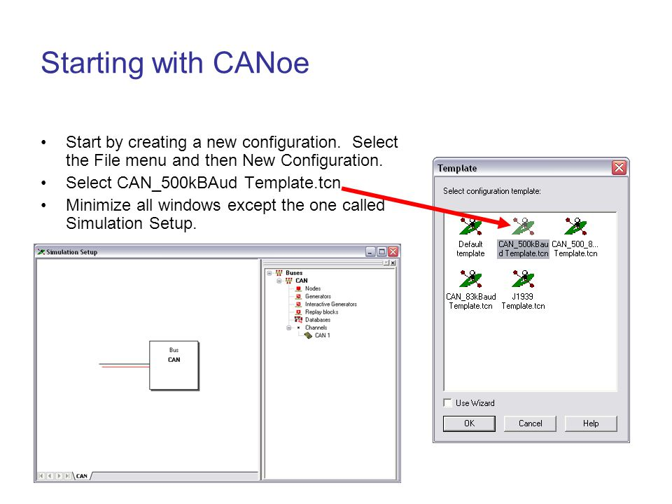 Starting with CANoe Start by creating a new configuration. Select the File menu and then New Configuration.