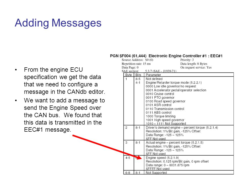 Adding Messages From the engine ECU specification we get the data that we need to configure a message in the CANdb editor.