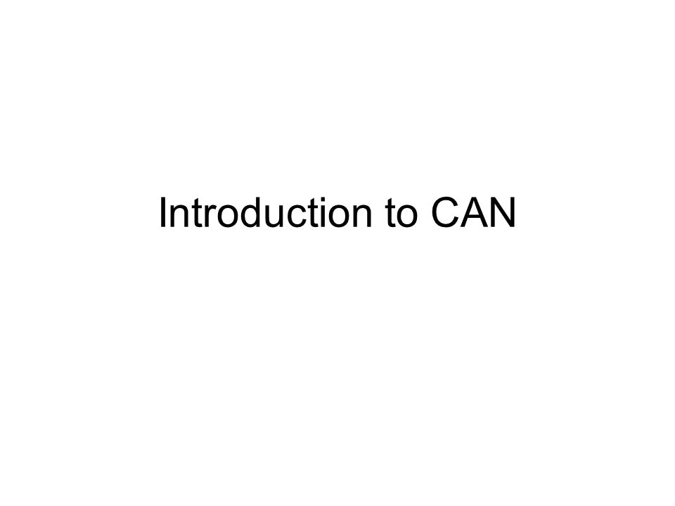 Introduction to CAN