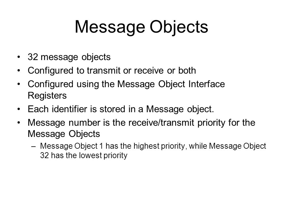 Message Objects 32 message objects