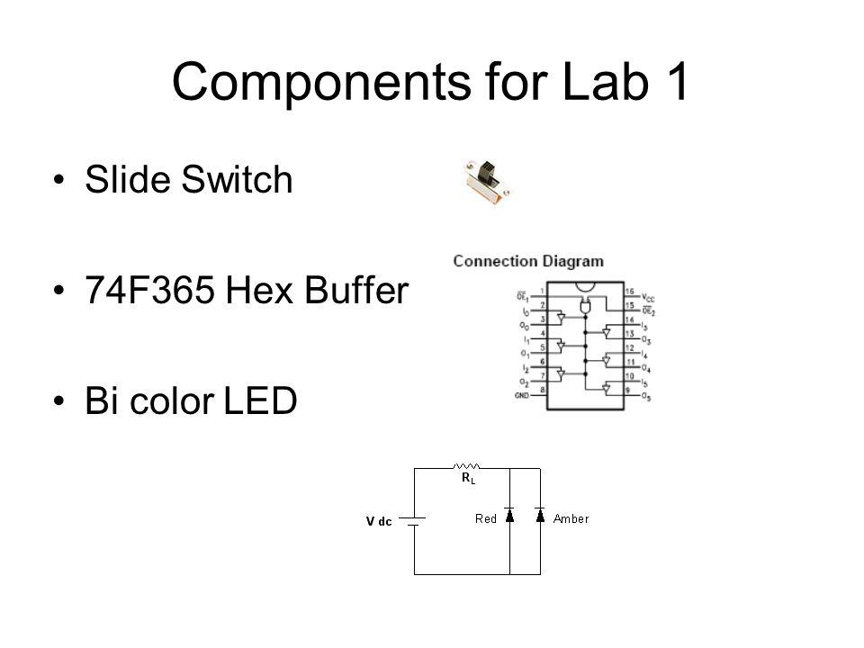 Components for Lab 1 Slide Switch 74F365 Hex Buffer Bi color LED