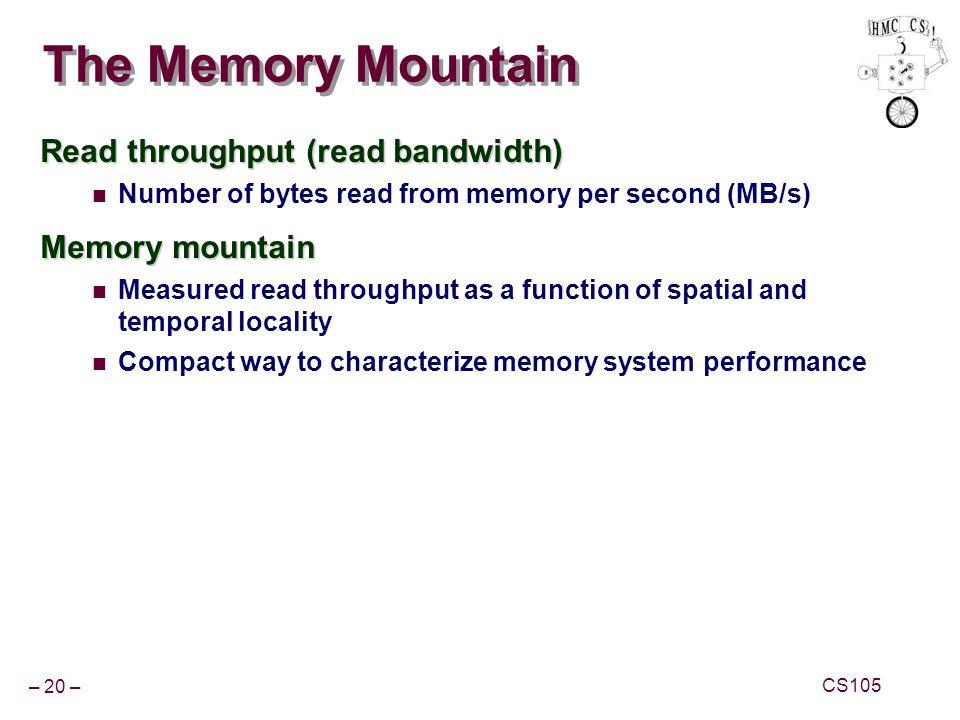 The Memory Mountain Read throughput (read bandwidth) Memory mountain