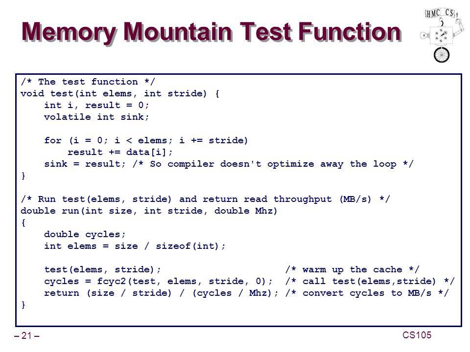 Memory Mountain Test Function