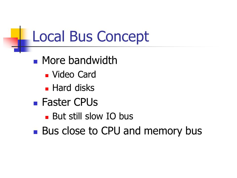 Local Bus Concept More bandwidth Faster CPUs