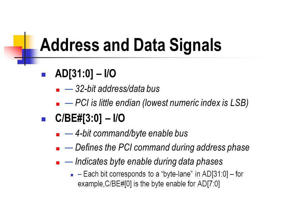 Address and Data Signals