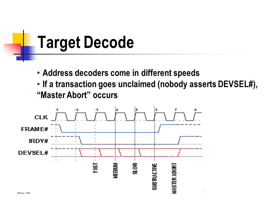 Target Decode Address decoders come in different speeds