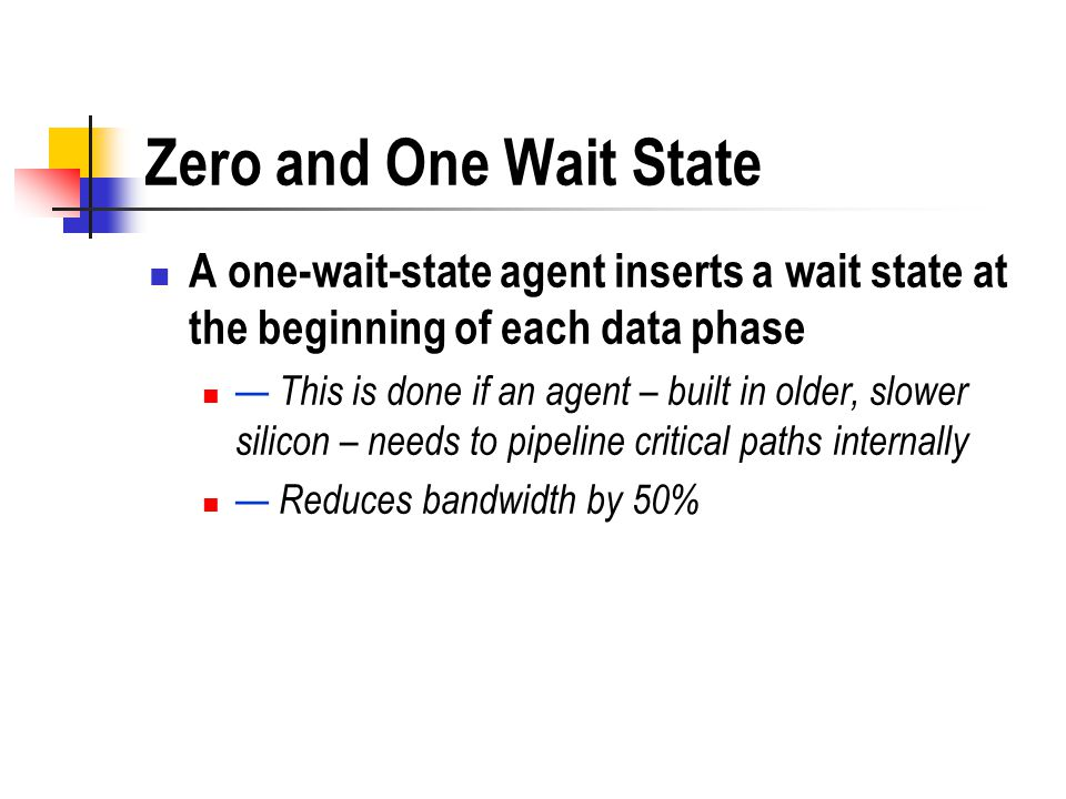Zero and One Wait State A one-wait-state agent inserts a wait state at the beginning of each data phase.