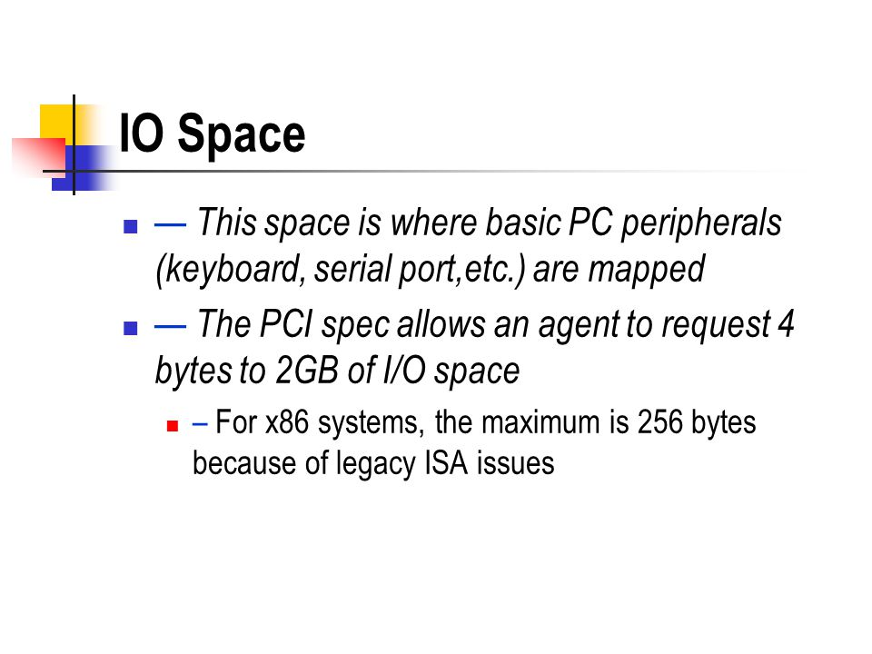 IO Space — This space is where basic PC peripherals (keyboard, serial port,etc.) are mapped.