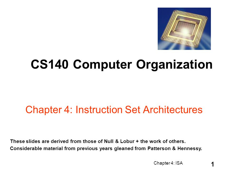 Chapter 4: Instruction Set Architectures