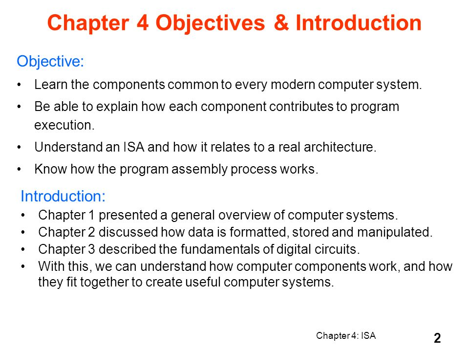 Chapter 4 Objectives & Introduction