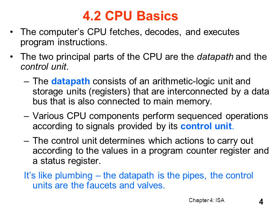 4.2 CPU Basics The computer's CPU fetches, decodes, and executes program instructions.