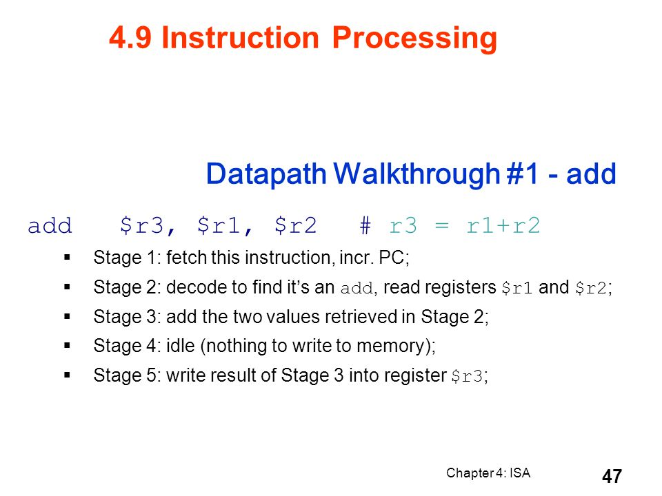 Datapath Walkthrough #1 - add