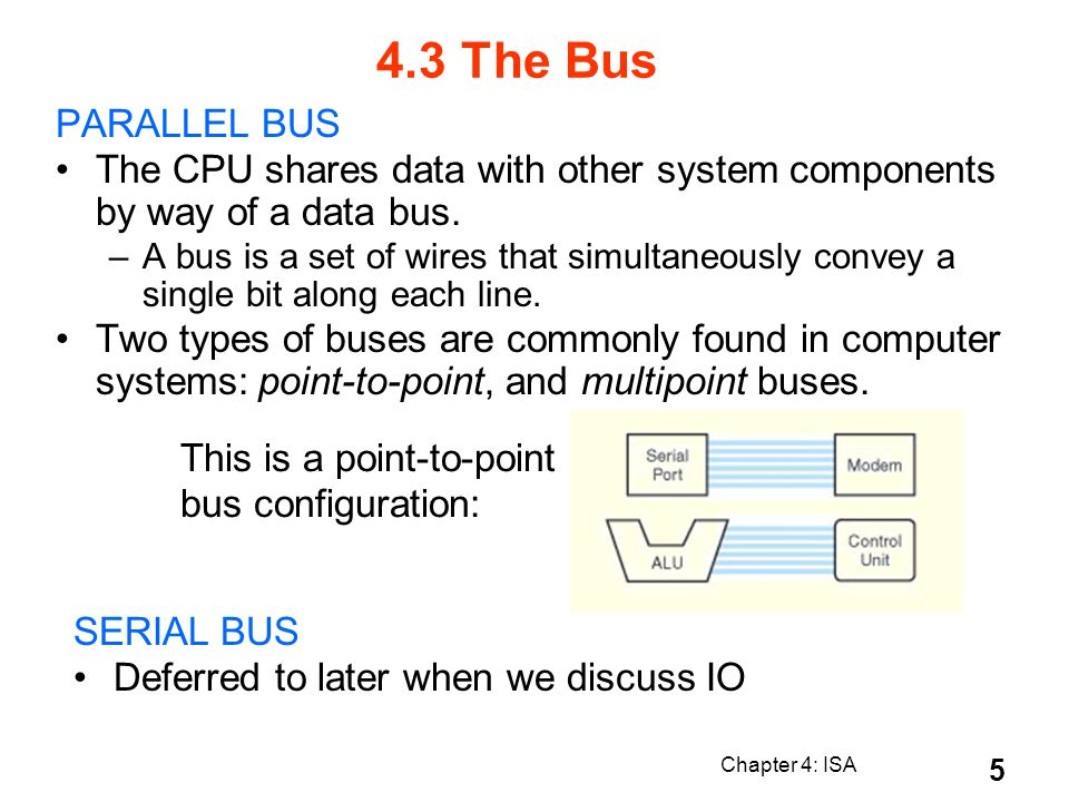 4.3 The Bus PARALLEL BUS. The CPU shares data with other system components by way of a data bus.