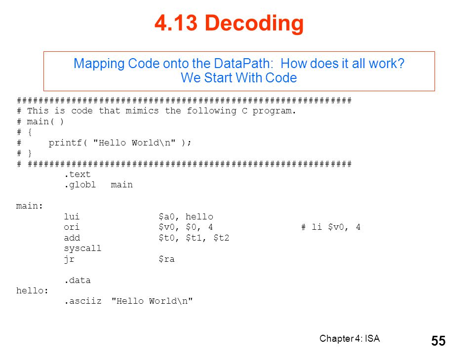 4.13 Decoding Mapping Code onto the DataPath: How does it all work We Start With Code.