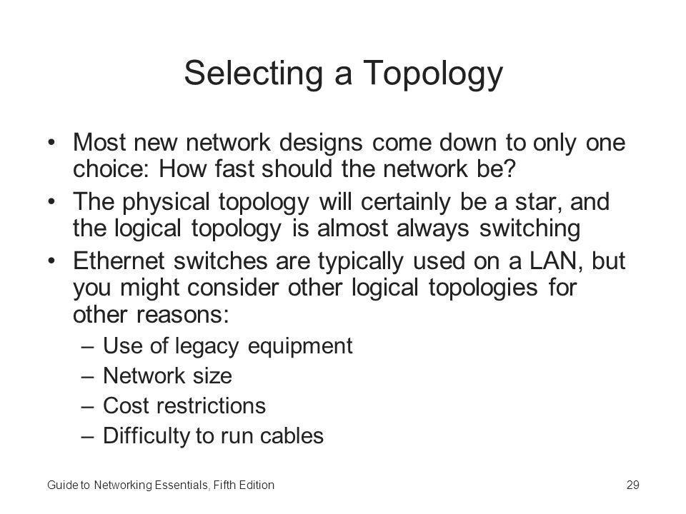 Selecting a Topology Most new network designs come down to only one choice: How fast should the network be