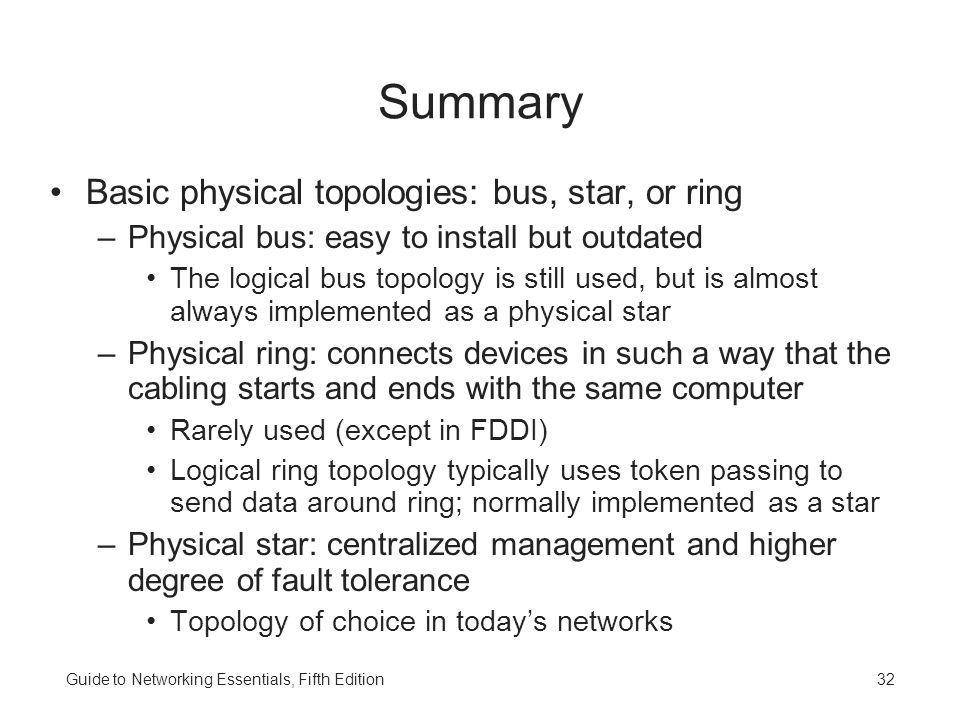 Summary Basic physical topologies: bus, star, or ring