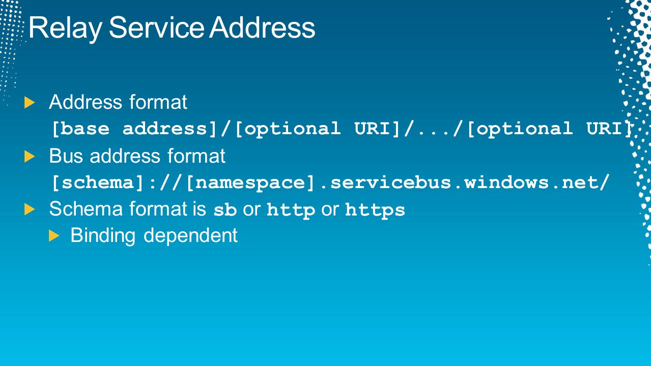 Relay Service Address Address format