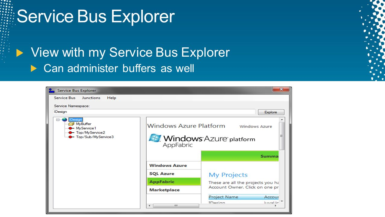 Service Bus Explorer View with my Service Bus Explorer