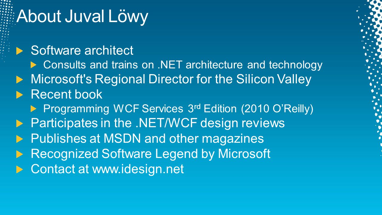 About Juval Löwy Software architect