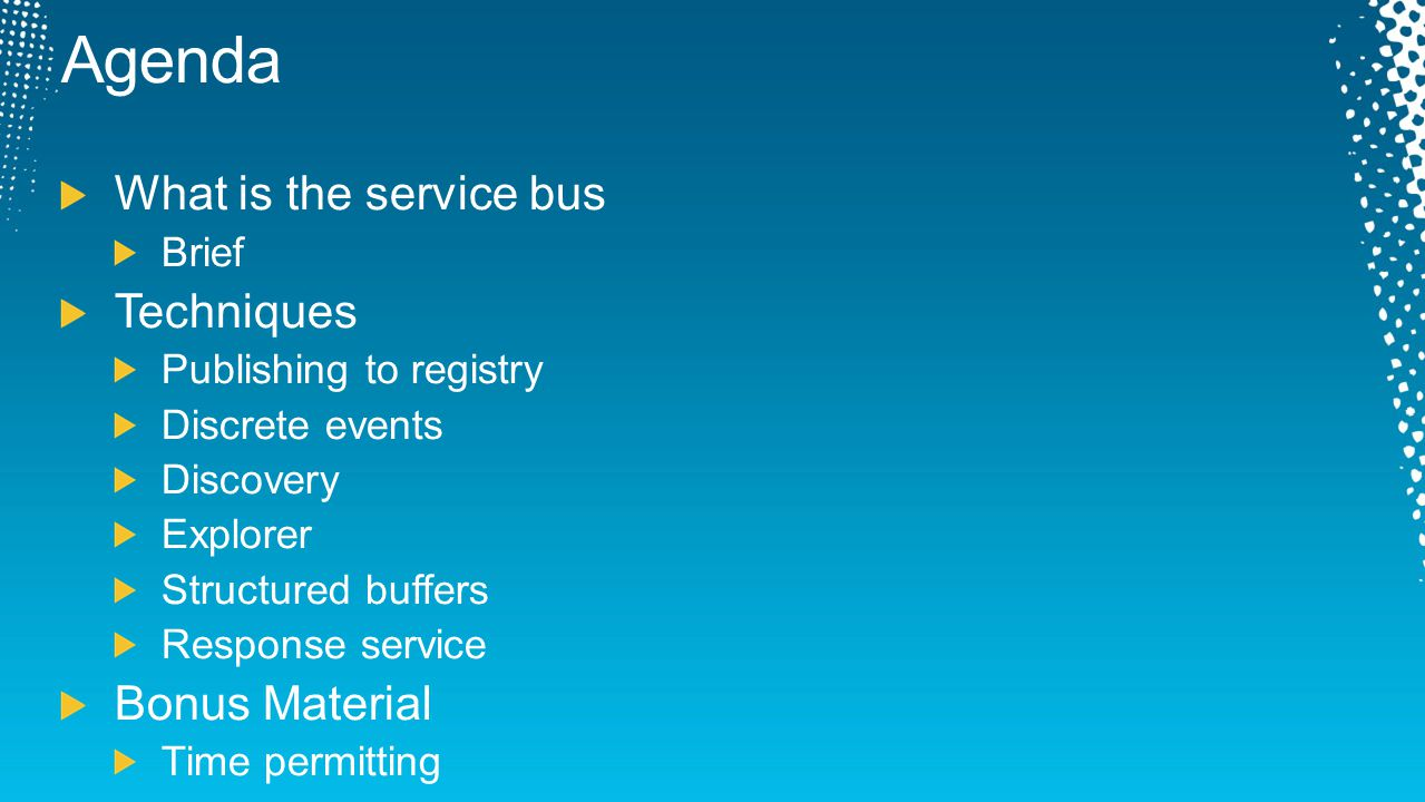 Agenda What is the service bus Techniques Bonus Material Brief