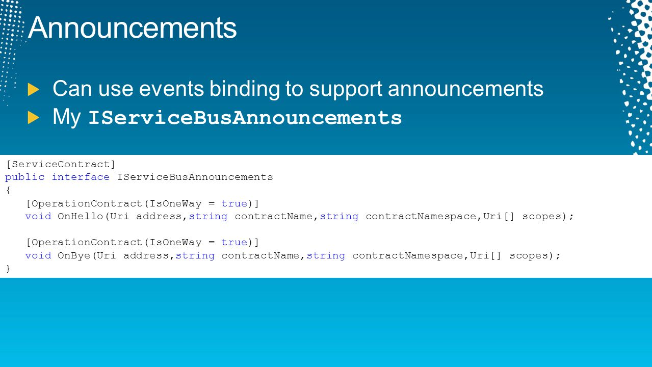 Announcements Can use events binding to support announcements