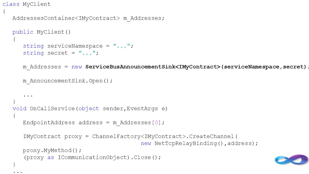 class MyClient { AddressesContainer<IMyContract> m_Addresses; public MyClient() string serviceNamespace = ... ;