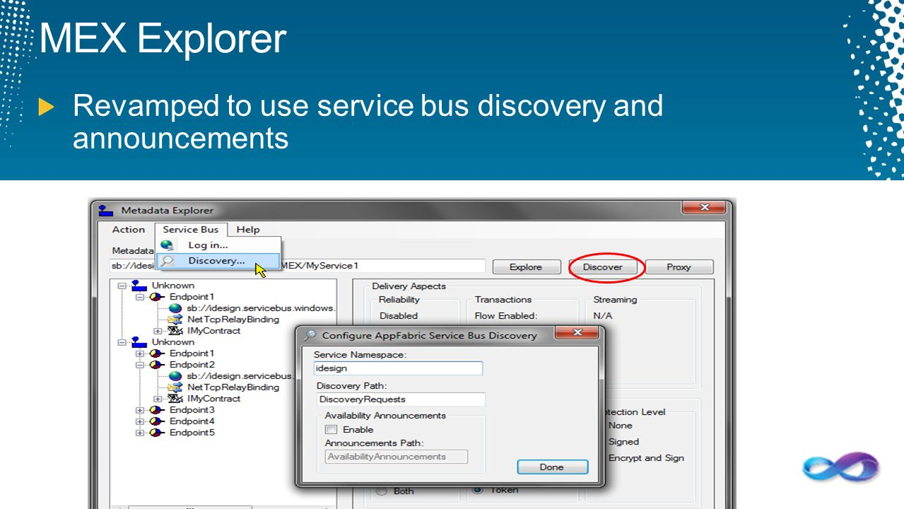 MEX Explorer Revamped to use service bus discovery and announcements