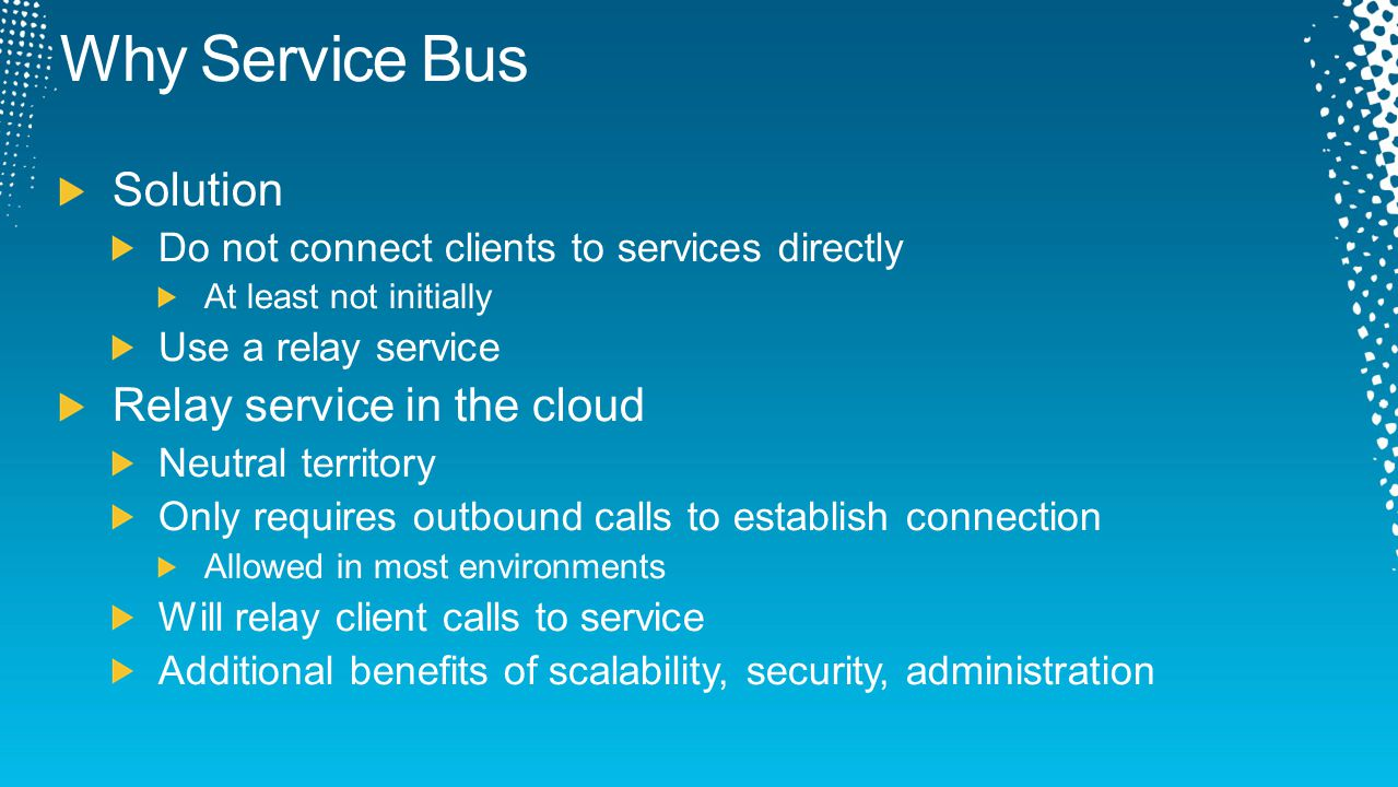 Why Service Bus Solution Relay service in the cloud