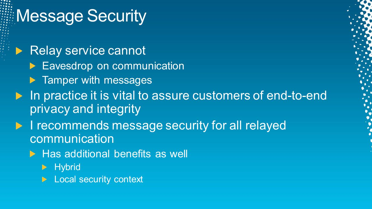Message Security Relay service cannot
