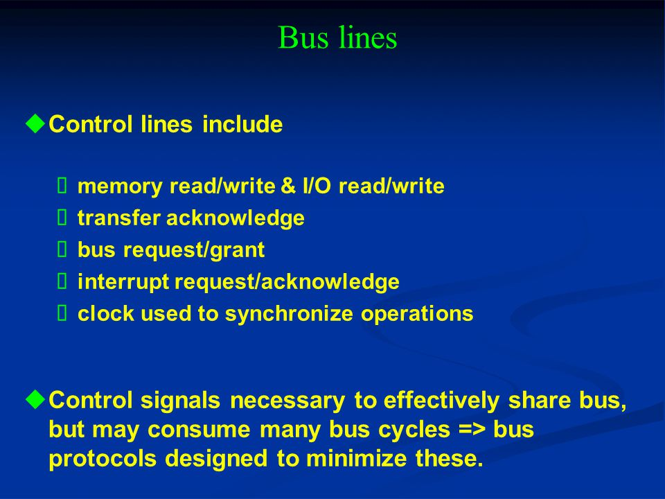 Bus lines Control lines include