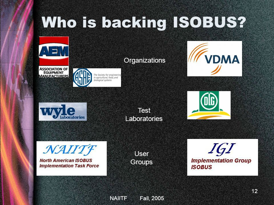 Who is backing ISOBUS Organizations Test Laboratories User Groups