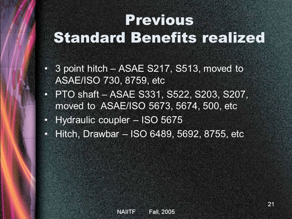 Previous Standard Benefits realized